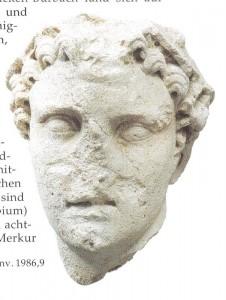 Originalkopf einer Merkurstatue aus Kalksandstein