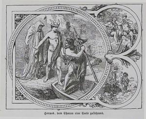 Hermes geleitet einen Verstorbenen an das Ufer des Styx